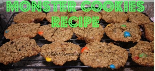 Monster Cookies Recipe are a great clear out your pantry or candy drawer cookie. You will need two cups of any kid of chocolate candy.