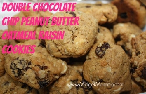 Double Chocolate Chip Peanut Butter Oatmeal Raisin Cookies are a great semi homemade recipe. It uses a bag of chocolate chip cookie mix with mix-ins.