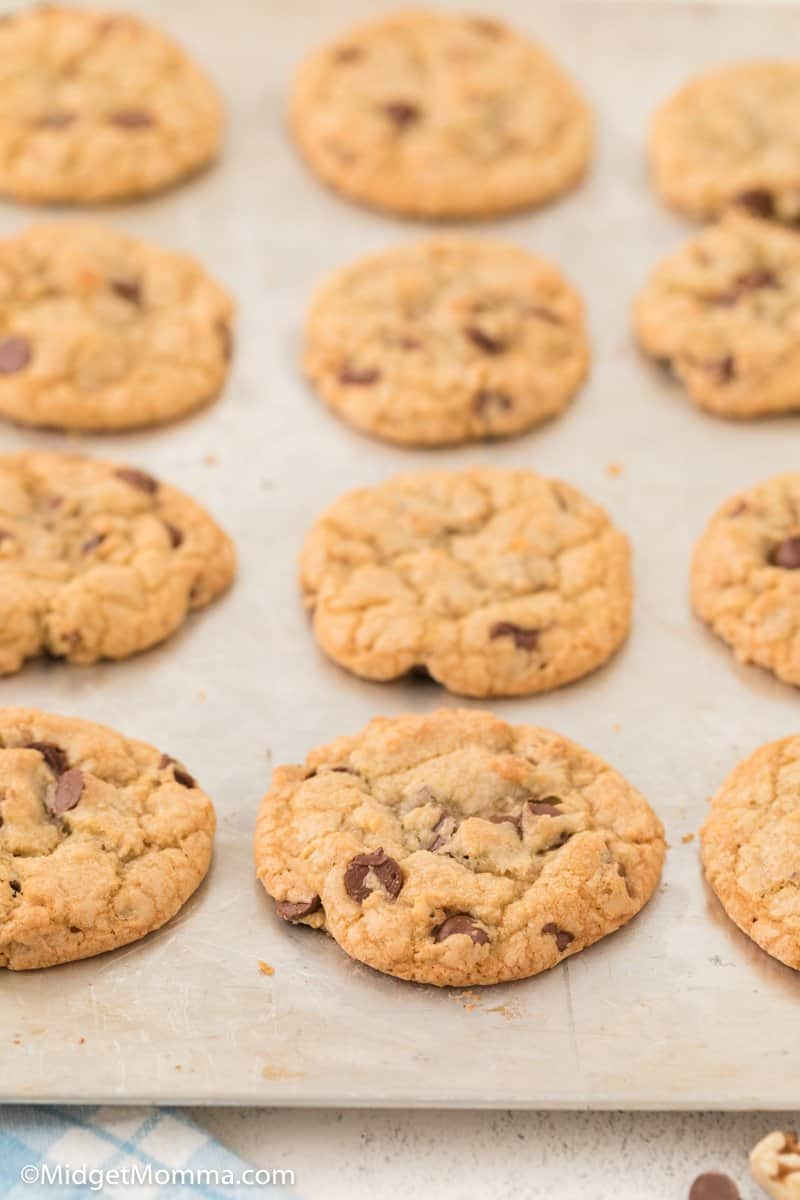 Walnut Chocolate Chip Cookies on a baking sheet