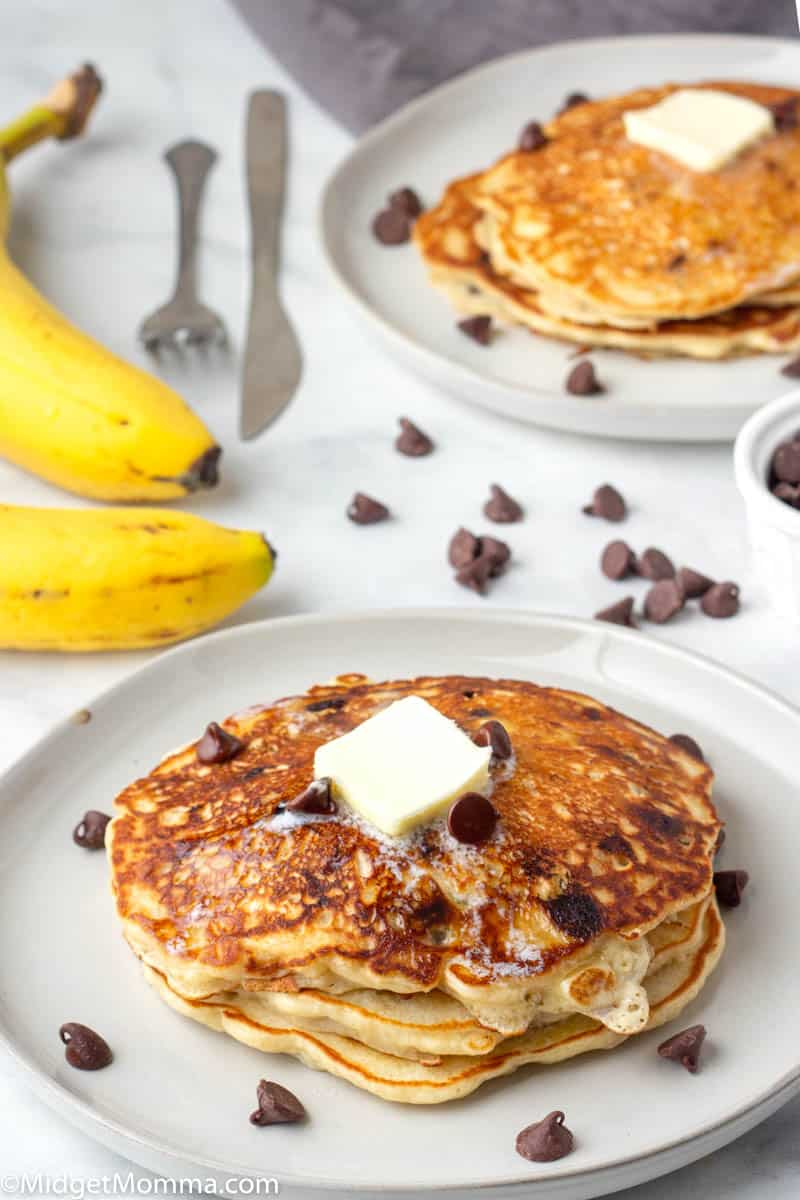 plate of Banana chocolate chip pancakes