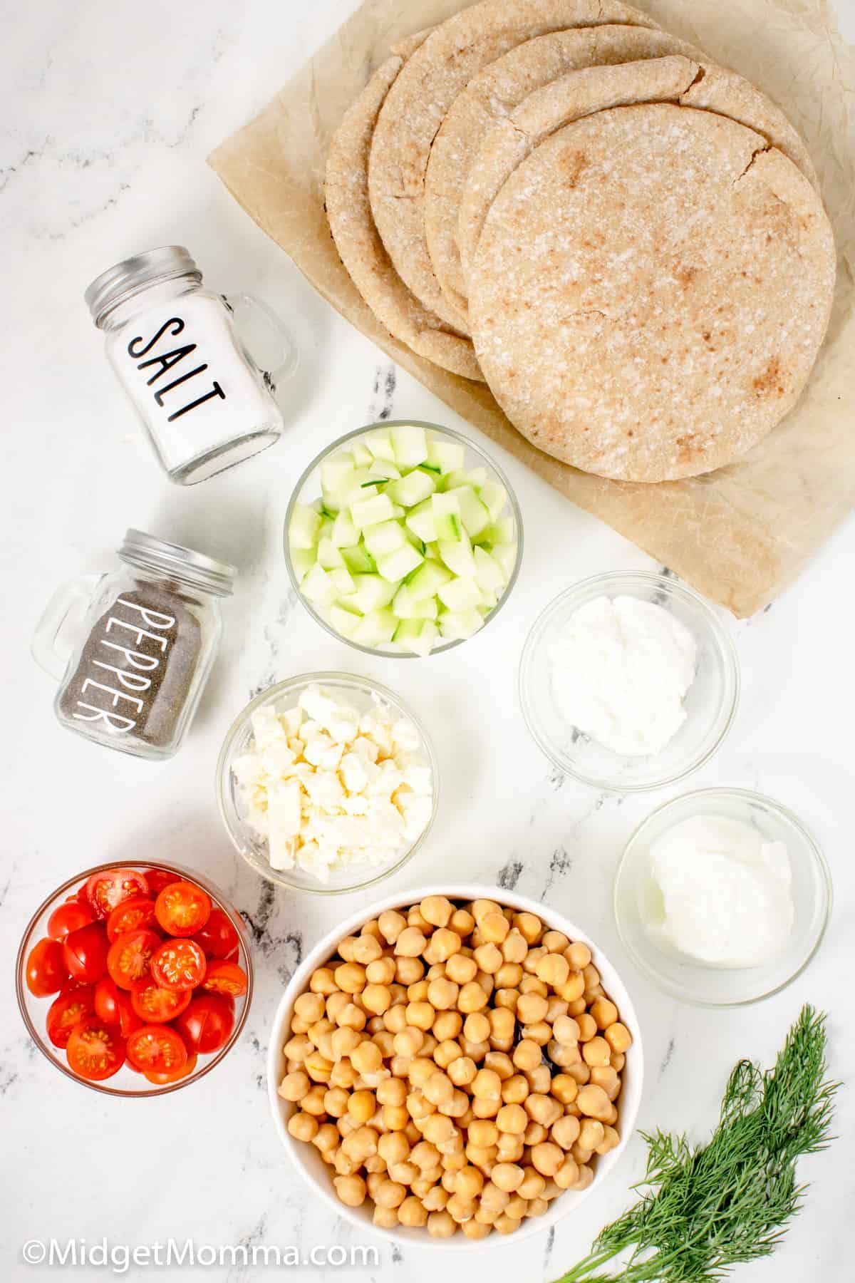Greek Pita Sandwich ingredients