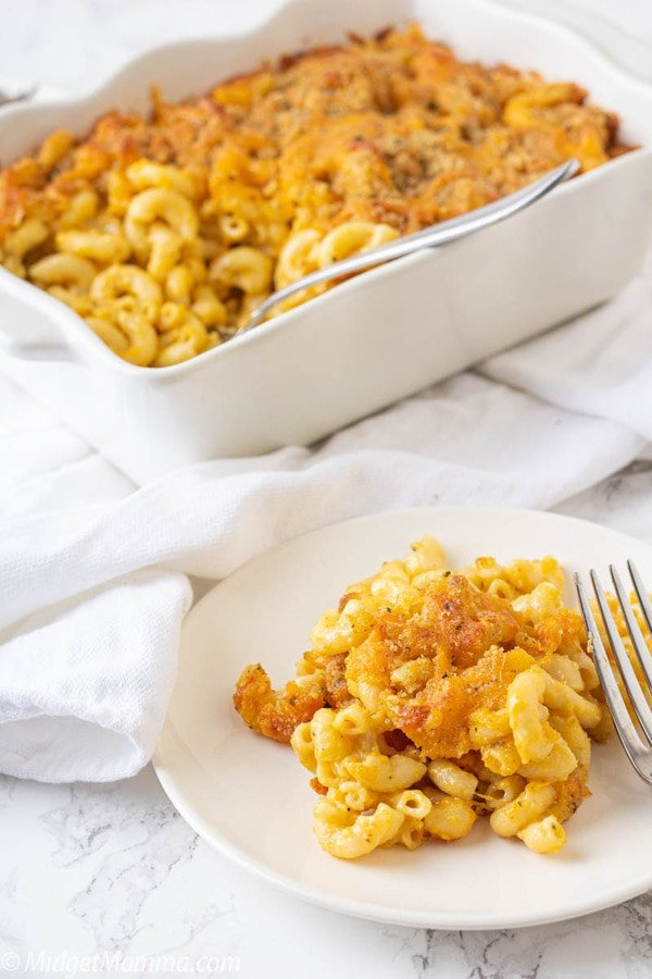 homemade mac and cheese on a plate