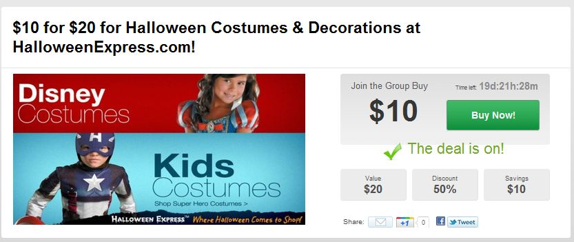Moms 8: $10 for a $20 Voucher to Costume Express!