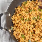 Easy Fried Rice with peppers and onions in a pan