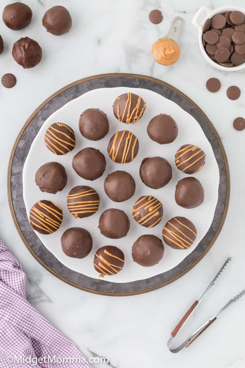 overhead photo of no bake peanut butter balls on a tray