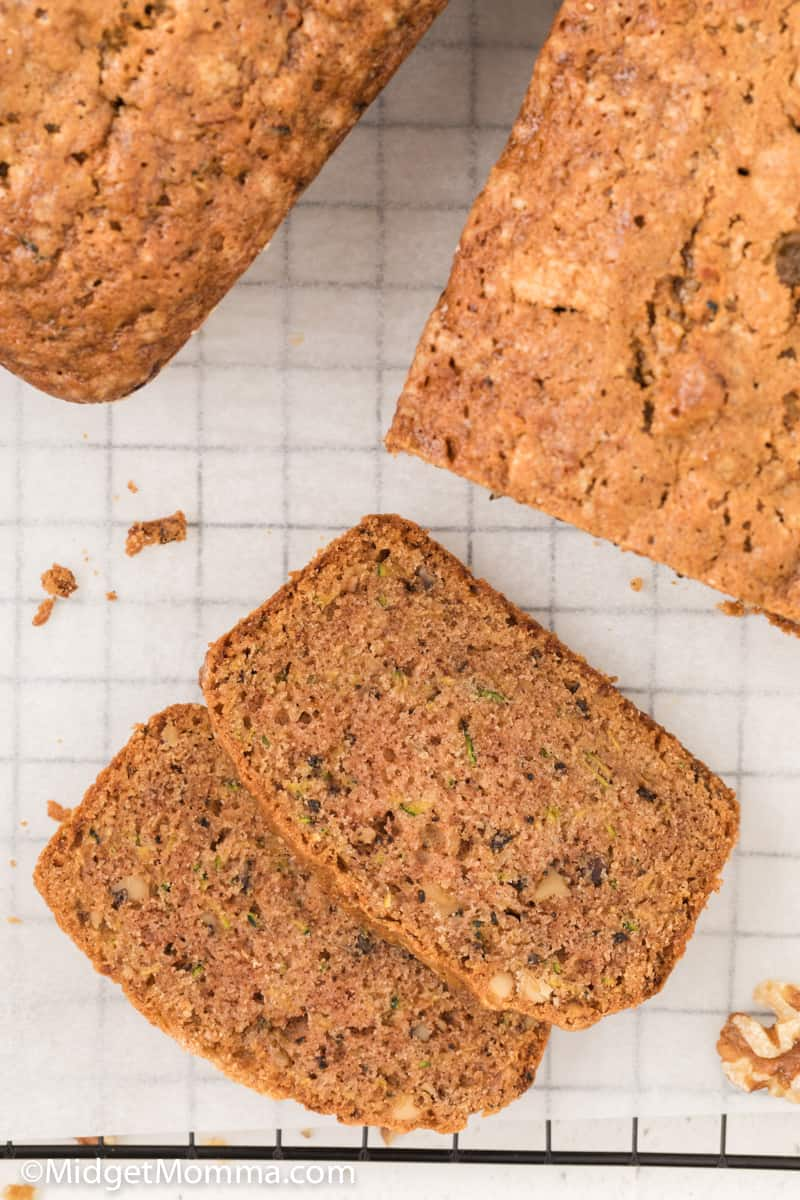 over head shot Walnut Zucchini Bread Recipe