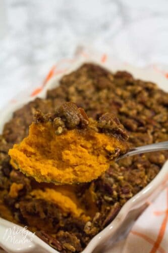 heaping spoonful of homemade sweet potato casserole