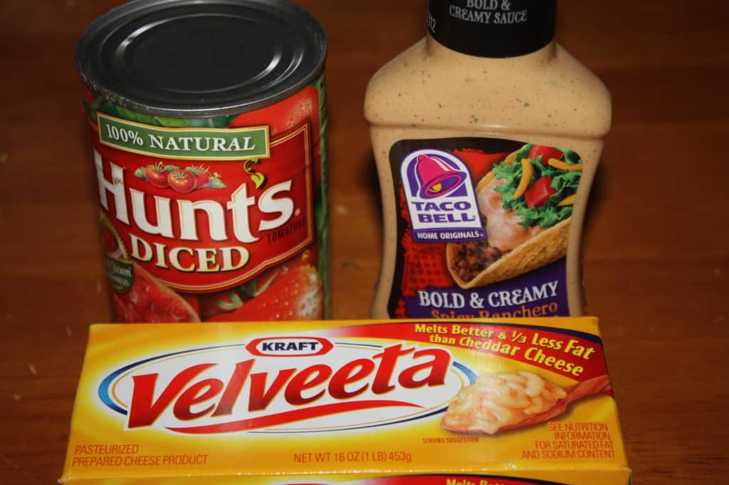 This three ingredient dip is a great way to use up items that you might have in your stock pile. It has a creamy texture from the Velveeta cheese.