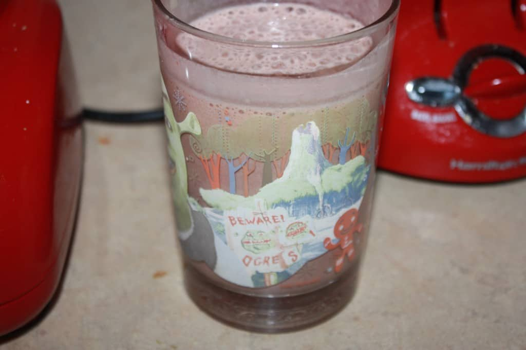 This chocolate strawberry banana smoothie is a great way to trick your kids into drinking up there fruit. It has a great chocolate taste from nesquick.