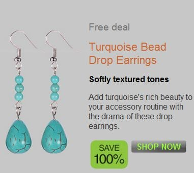No More Rack: FREE Turquoise Bead Drop Earrings – Just pay $2 shipping!