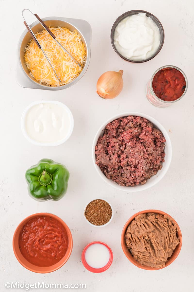 Cheesy Baked Taco Dip ingredients