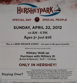 *HOT* Deal for Military – Hershey Park Tickets ONLY $26! (April 22 only)