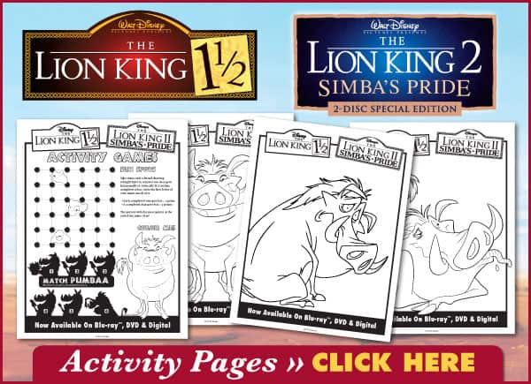 FREE Lion King Coloring and Activity Sheets