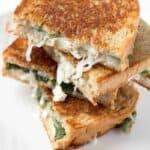 Spinach, Feta & Mozzarella Grilled Cheese Sandwich on Rye bread