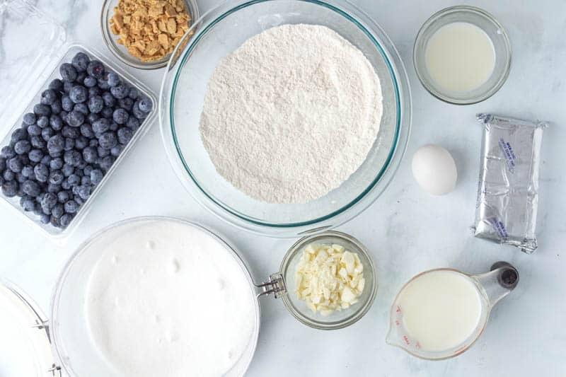 White Chocolate Blueberry Cheesecake Pancakes ingredients