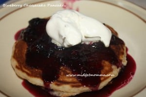 This recipe turns your mix a great new pancake. Its has the crunch from the gram cracker, creaminess from the cream cheese and the tart from the blueberries