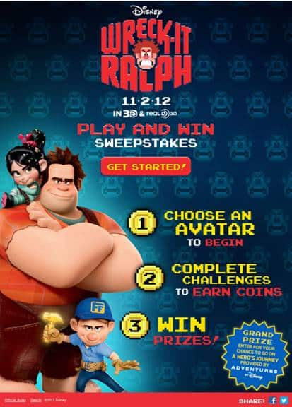 Wreck It Ralph Sweepstakes!! Win a Trip to California for Disney Adventures!!!