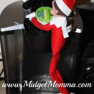 Elf on the Shelf makes coffee