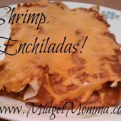 This is a great recipe that takes the help of a taco seasoning packet and a can of enchiladas to make these yummy Shrimp Enchiladas.
