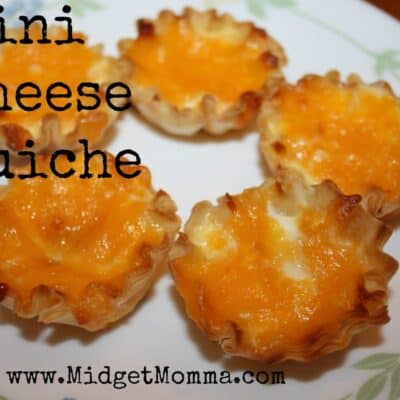 These mini cheese quiches are a great treat for you breakfast time. You can change it up and add different vegetables to the eggs.