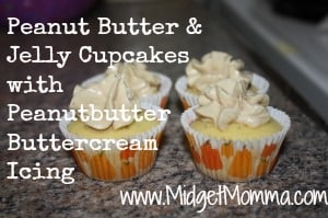 Kids seem to love peanut butter and jelly. So why not turn cupcakes into this great combination with a jelly filled cupcake and peanut butter frosting.