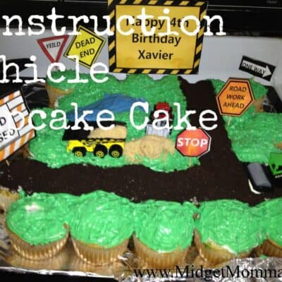 Any little child who is in love with construction sites would be so excited to get this construction vehicle cupcake cake for their birthday!