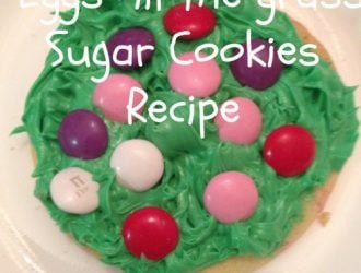 "Easter Cookies - ""Eggs"" in the grass Sugar Cookies Recipe - Super easy for the kids to help with making and super cute for Easter Dessert"