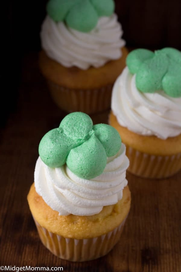 Vanilla cupcakes with irish cream cupcakes