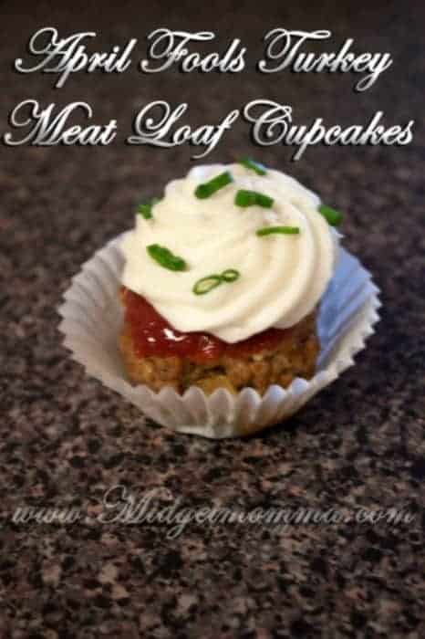When your kids first see these April Fools Turkey Meat Loaf Cupcakes they will think they are cupcakes but they will find out its meatloaf and potatoes.