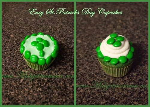 Two very easy St. Patrick's Day cupcake recipes that are fun for kids and easy to make. All you need is cupcakes, buttercream and green M&M's