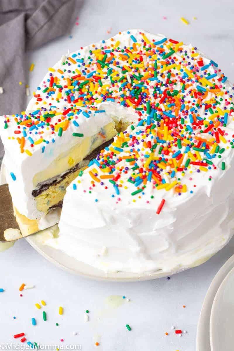ice cream cake being cut