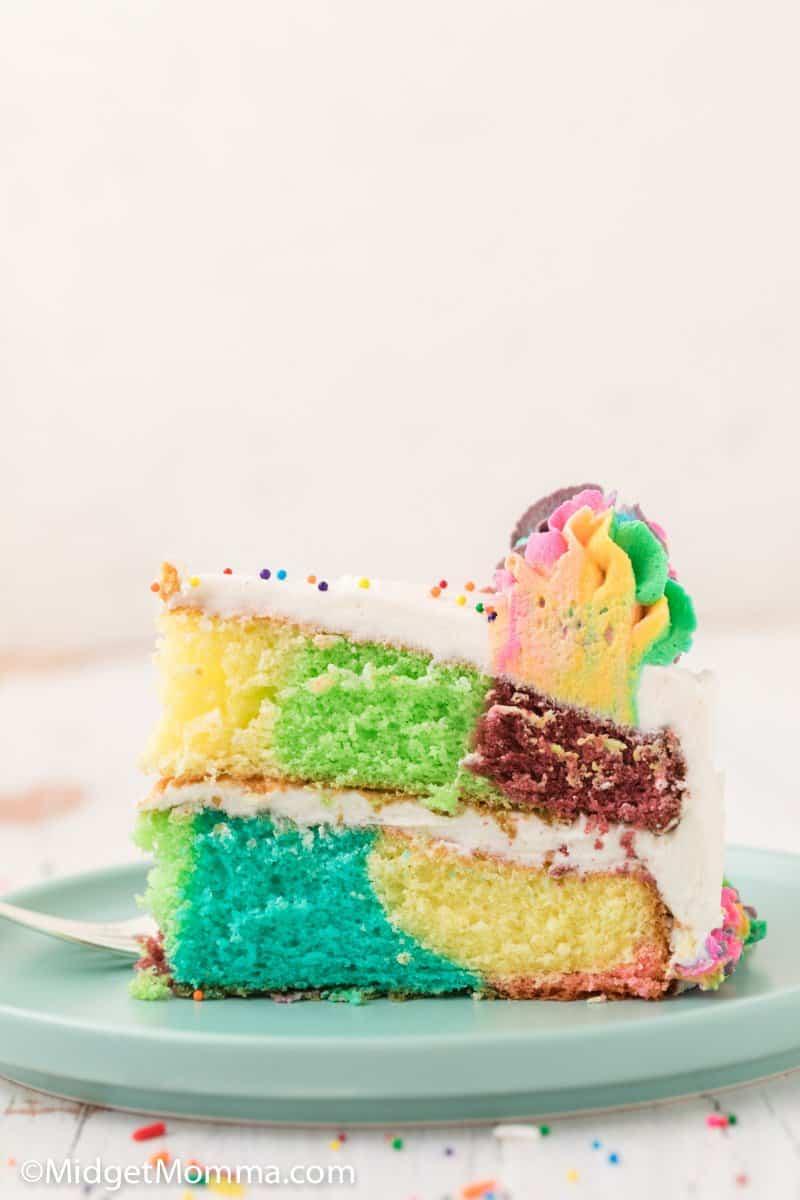 side photo of rainbow cake slice