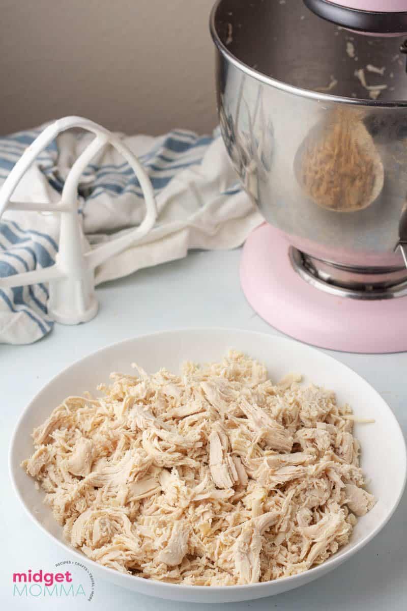 Bowl of shredded chicken