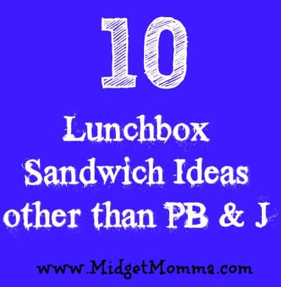 Here are 10 Sandwich ideas for your kids lunchboxes other than a PB & J - You can also change it up a bit by making it a wrap using a tortilla instead.
