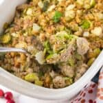 Ground Turkey and Brussel Sprouts Casserole in a white casserole dish
