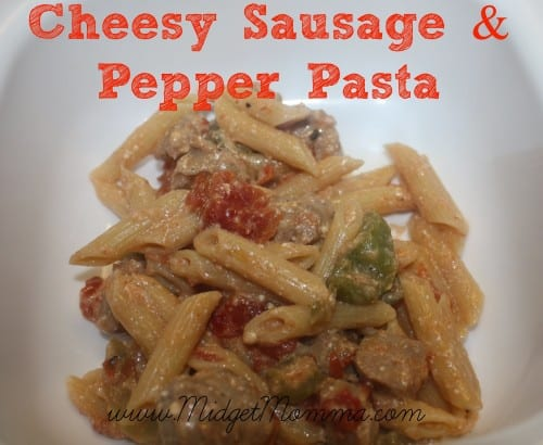 All you will need is just six simple ingredients to make this quick and easy Cheesy Sausage and Pepper Pasta Recipe. This is great for busy week nights.