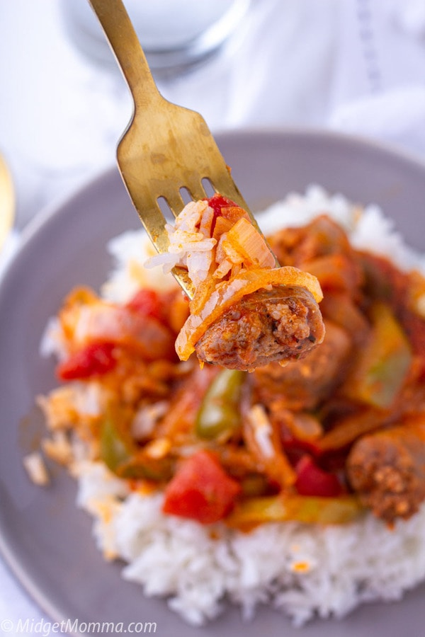 sausage and peppers on a fork