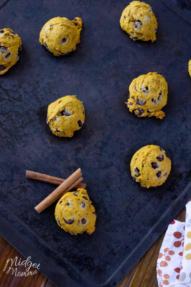 Pumpkin Chocolate Chip cookies recipe baked on a baking sheet