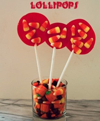 Making your own candy is so much fun with these great Halloween Lollipops. They are nice and sweet with the addition of candy corn in the pops.