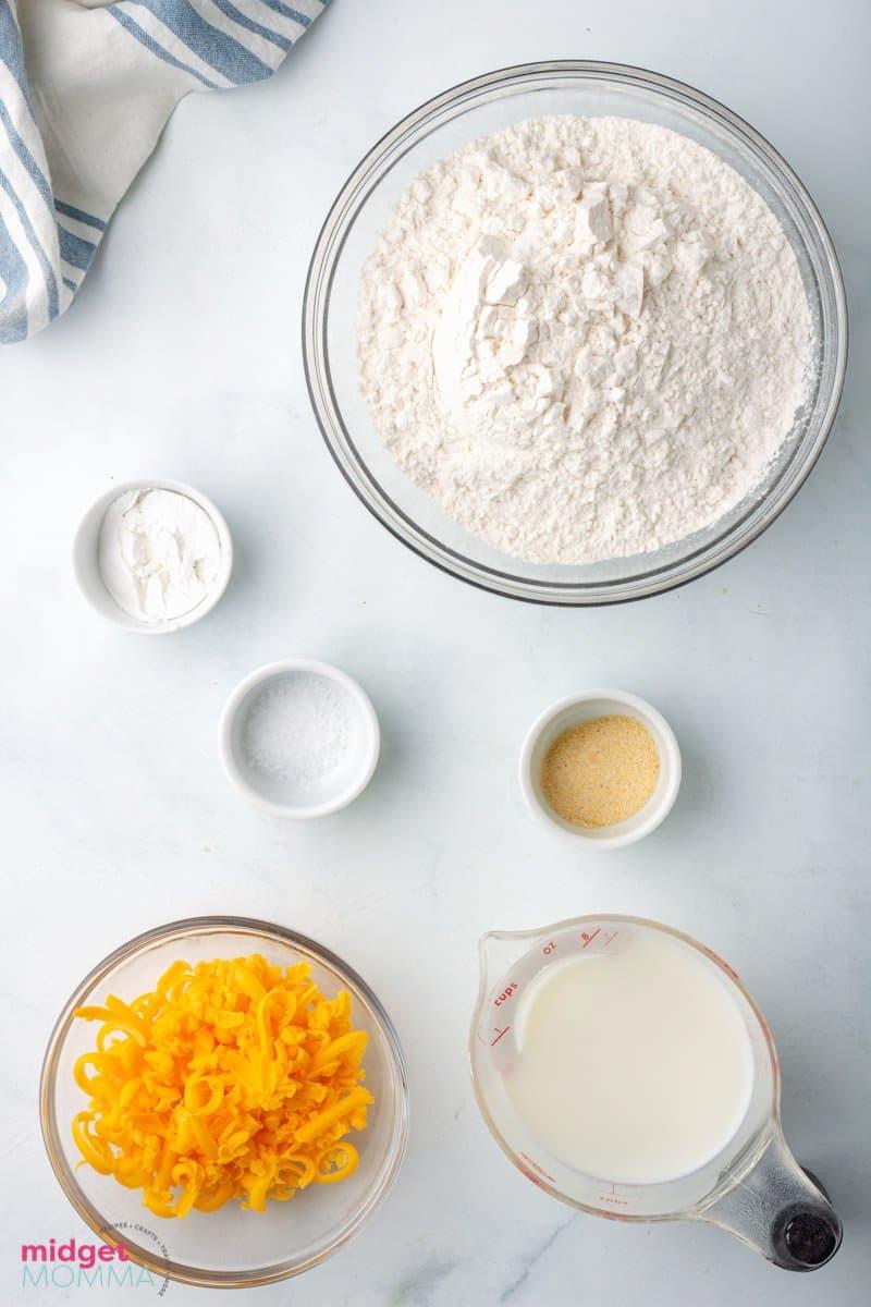 Garlic Cheddar Biscuits ingredients in bowls