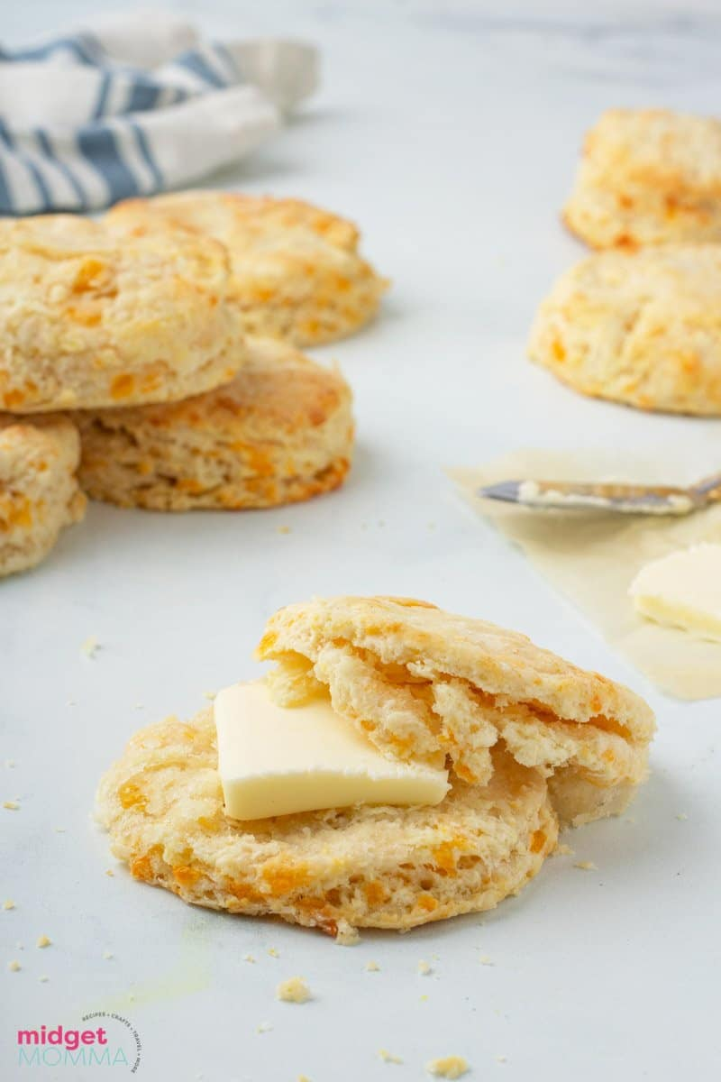 Garlic Cheddar Biscuits with butter