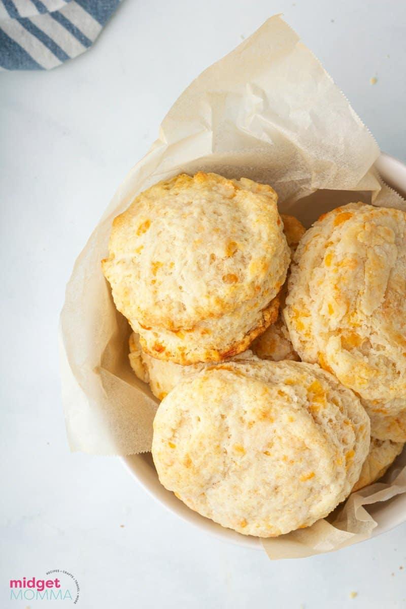 bowl of Garlic Cheddar Biscuits