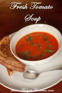 There is nothing like the taste of a Fresh Tomato Soup. It taste nothing like what you would find in a can. It goes perfect with a grilled cheese sandwich.