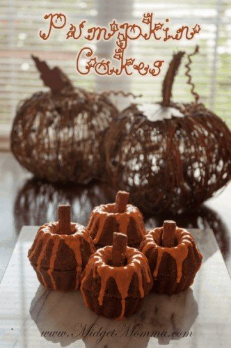 Pumpkin shaped Pumpkin Cake are full of all of your favorite fall spices. With the help of mini bunt pans you are able to shape them like pumpkins.