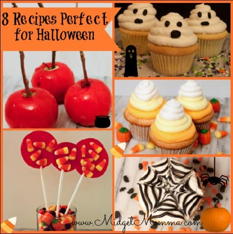 White Chocolate Ghost Pops Snow White's Candy Apples Orange Noodles for Halloween Pumpkin Shaped Pumpkin Cakes Halloween Lollipops Candy Corn Cupcakes Spide