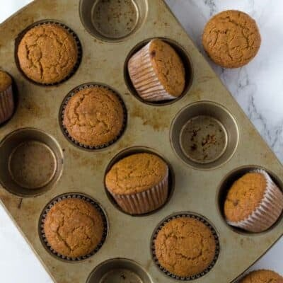 Whole Wheat Pumpkin muffins in a muffin tin