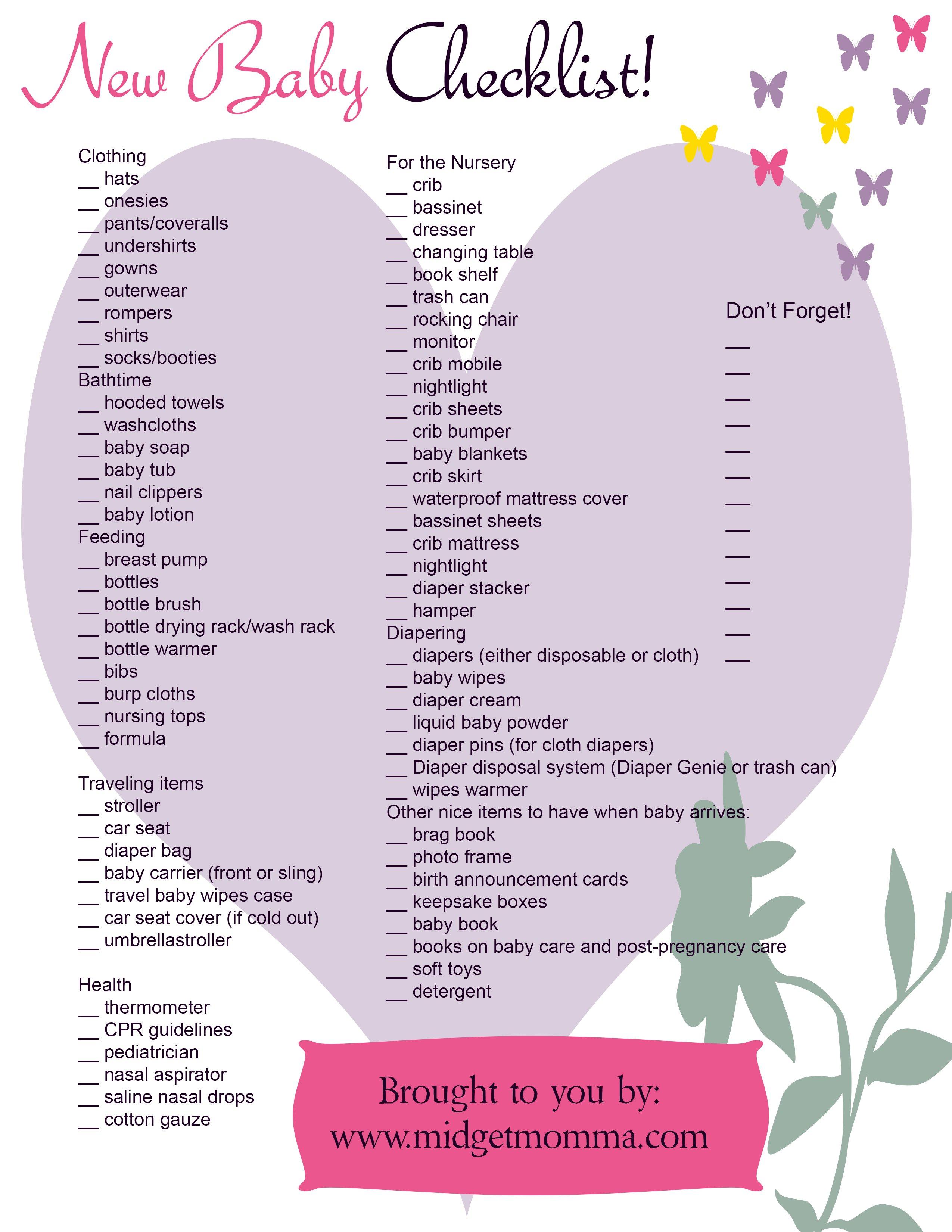 FREE Baby Needs Printable Check list! • MidgetMomma