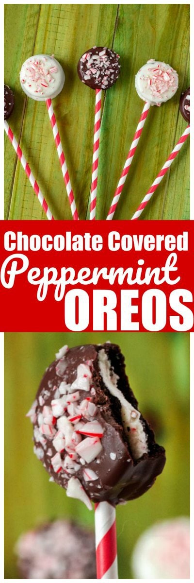 These Chocolate Covered Peppermint Oreos are the perfect holiday treat. You can make white Chocolate covered oreos or milk chocolate covered oros and have the perfect chocolate and mint cookie. Add a lolipop stick to your chocolate covered oreos and you have an awesome chocolate covered oreo pop! #Oreo #ChocolateCoveredOreo #ChristmasOreo #ChristmasCookie #ChocolateCovereOreoPop #OreoPop