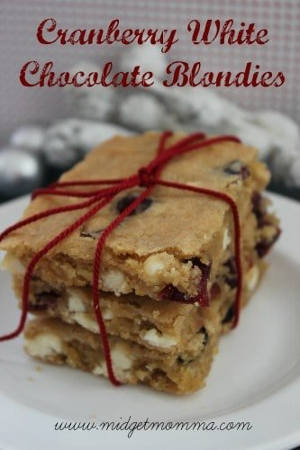Cranberry White Chocolate Blondies are a great way to make your bloodies look a little more festive! They still have that great white chocolate flavor.