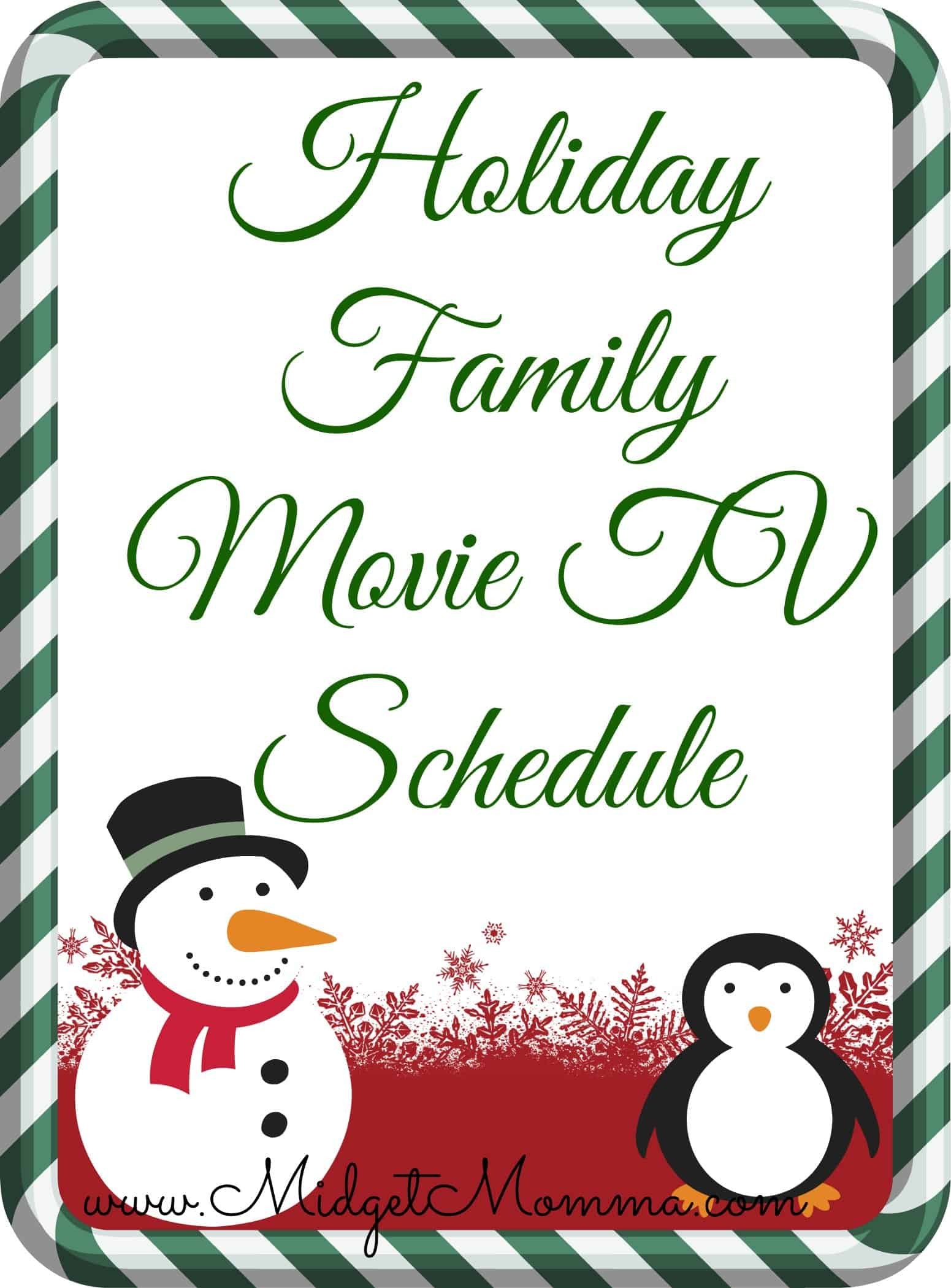 Holiday Family Movie TV Schedule 2013